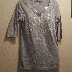 American Eagle Button Up Mid Quarter Sleeve Shirt